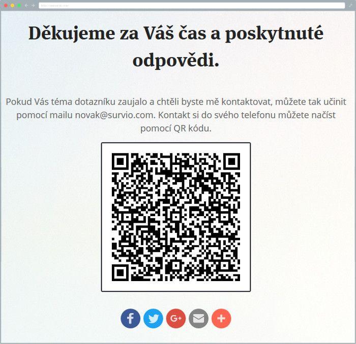 Stránka s poděkováním s QR kódem