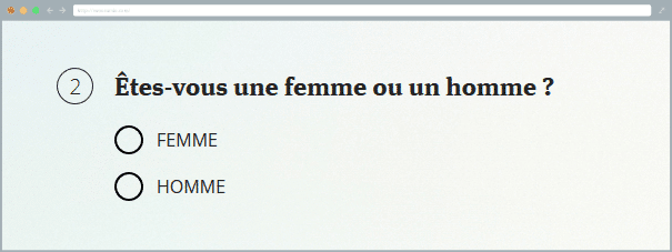 Exemple d'une question dichotomique