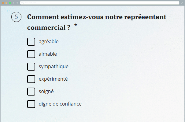 Exemple d'une question à choix multiple